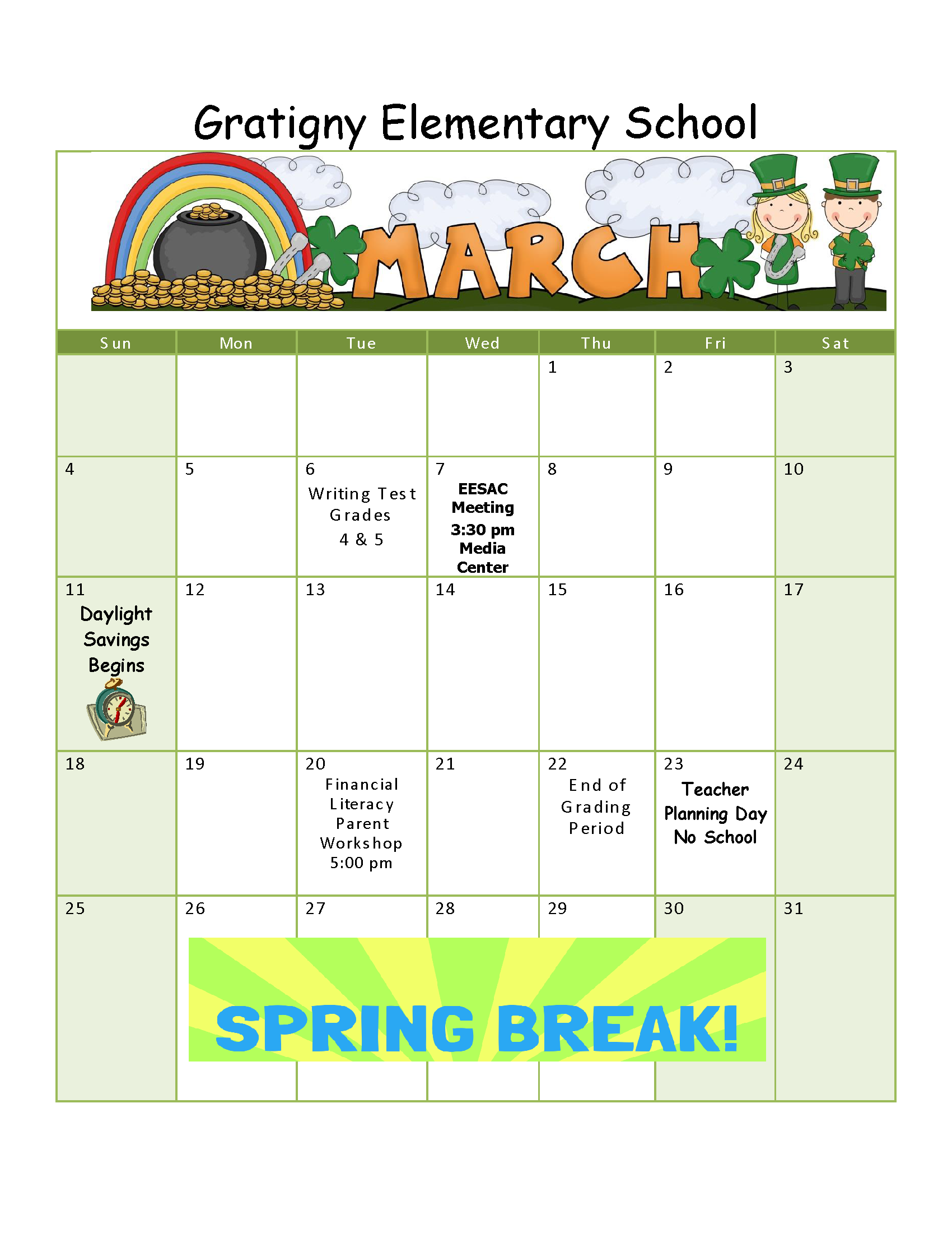 Calendar Ideas For Elementary : Monthly activities gratigny elementary